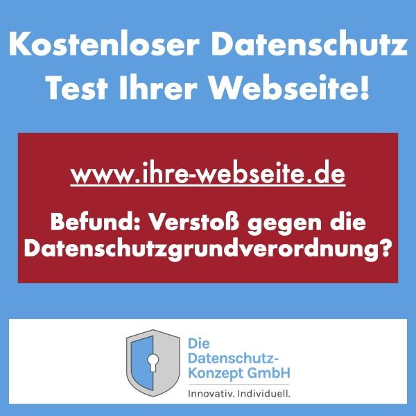 Hinweisbild zur Durchführung eines Datenschutz Test für eine Webseite. Ein rotes Emblem auf blauem Grund zeigt einen Verstoß gegen die DSGVO an.
